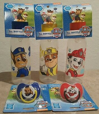 NEW Baby King Nickelodeon Paw Patrol pacifier,cover&9oz bottle set,Lot of 5,0+M