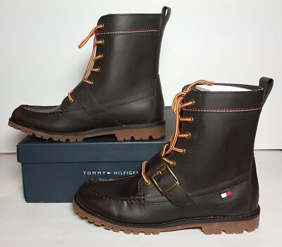7be63d568ab09 Tommy Hilfiger Men s Narcisco Dark Brown Leather Boots New box Multiple  Sizes