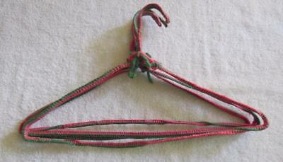 Vintage 60's Lot of 4 Handmade Crochet Yarn Covered Clothes Hangers Heavy Metal