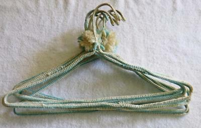 Vintage 60's Lot of 8 Handmade Crochet Yarn Covered Heavy Metal Clothes Hangers