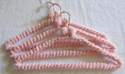 Vintage 80's Lot of 3 Handmade Crochet Pink Yarn Covered Metal Clothes Hangers