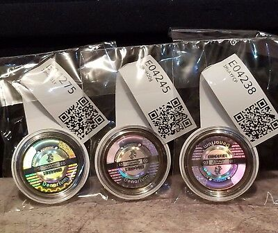 "(3 PACK) 2015 Denarium Bitcoin .001, ""Gold Plated"", FUNDED with .001 BTC Each !!"