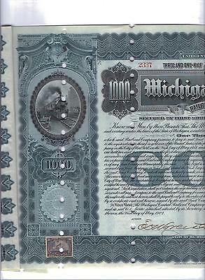 1902 Michigan Central Railroad $1000 Bond  with 10 Coupons