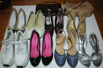 Lot 8 WOMEN'S SHOES Wedges-PUMPS-Athletic-HEELS 2 PURSES sz10M BLACK FRIDAY SALE