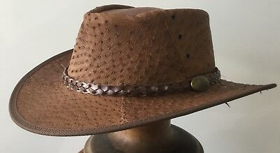 Genuine Full Ostrich Leather Hat Brown  56/57cm SUPER SPECIAL exotic