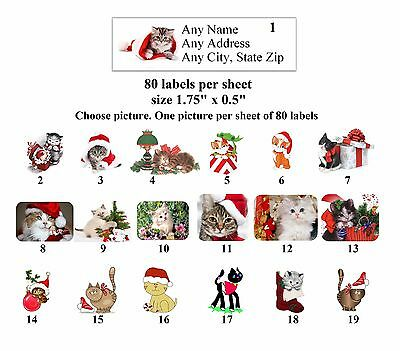 80 small Return Address Labels Christmas Cats Buy 3 get 1 free (ch2)
