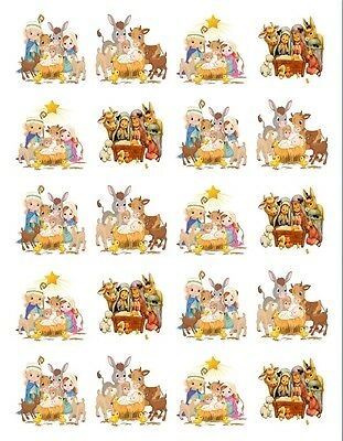 "20  2""x2"" Glossy Square Stickers/Seals Nativity  Buy 3 get 1 free (s78)"