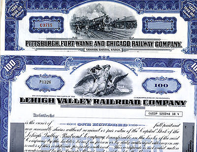 2 Unissued Railroad Stock Certificates Pittsburgh, Ft Wayne and Lehigh Valley