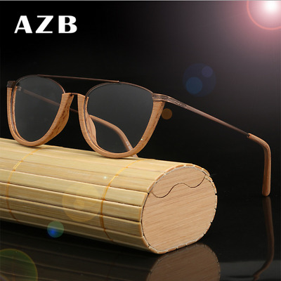6f8b8cc886 Handmade Unisex Sheet Wood Clear Lens Eyeglasses Frame Retro Square Glasses