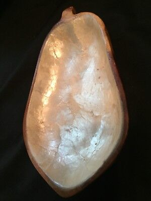 Vintage Mother of Pearl Candy Dish Wooden Bowl Made in Philippines