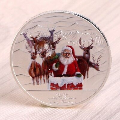 Merry Christmas Santa Claus Deer Commemorative Coin Souvenir Xmas Decor Silver