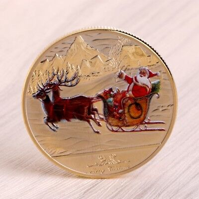 Merry Christmas Santa Claus Deer Sleigh Commemorative Coins Souvenirs New Year