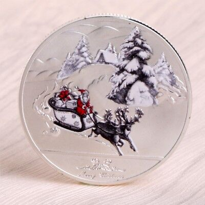 Merry Christmas Santa Claus Deer Sleigh Commemorative Coins Silver Souvenirs New