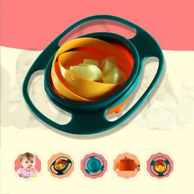 Infants Baby No Spill Feeding Bowl Toddler Kids Gyro 360 Rotating Bowl Practical