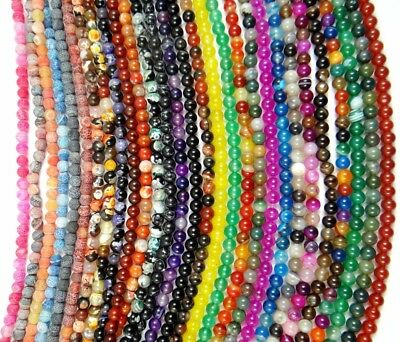 wholesale Natural Mix agate Gem Round Charms Beads Jewelry Making 4/6/8/10/ 12MM