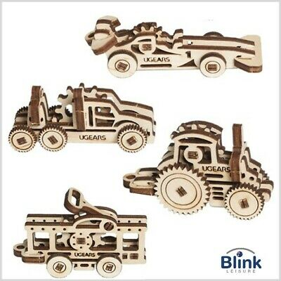 UGEARS - Wooden 3D Puzzle U-Fidgets Vehicles x 4