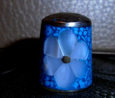 Vtg Alpaca SILVER w/Abalone & Crushed Turquoise InlayThimble-Marked! $ALE
