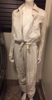 Gucci Tom Ford 2000 Campionario Show Pe White Leather Jumpsuit Coveralls