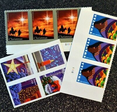 (10) USPS Forever Stamps - Various Designs - Christmas - Holiday Postage Stamps