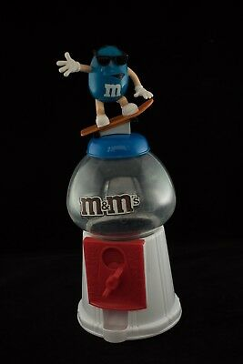 2011 M&M's White Gumball-Style Coin Bank Candy Dispenser Blue Skateboarder
