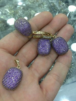 Turkish 925 Sterling Silver Handmade Jewelry Micro Pave Amethyst  Ladie's  Set