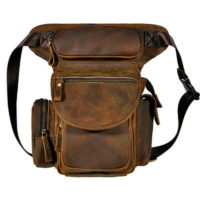 Waist Hip Belt Fanny Pack Crazy Horse/Oil Wax Genuine Leather Men Leg Drop Bag