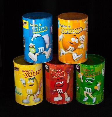 """Set of 5 M&M Canister Tins Today is Red Yellow Orange Blue Green 6"""" Tall x 3.8"""""""