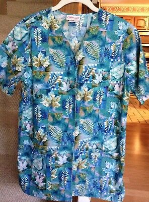 Womens Cherokee Snap Front Uniform Scrub Top Leaf Design Blue, Teal, Olive Xs