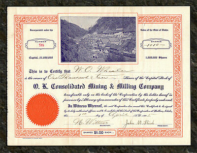 1905 O. K. Consolidated Mining Company Stock Certificate GOVERNMENT GULCH IDAHO