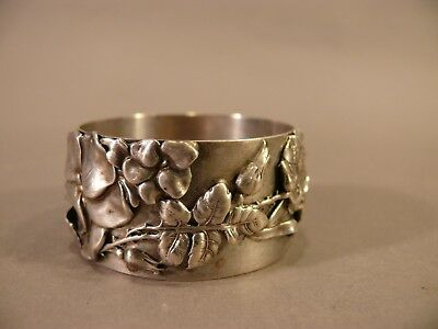 Antique Shiebler Sterling Silver Aesthetic Napkin Ring Applied Flowers & Thorns