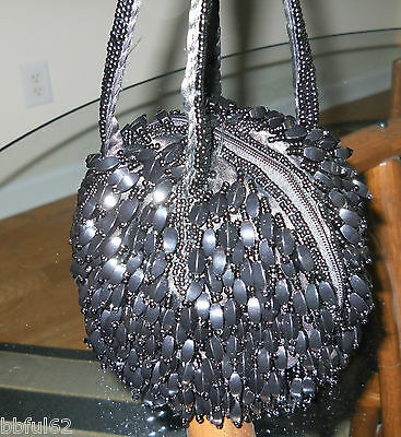 Black Hand Beaded Puff Bag Purse New, Fashion Statement  Look