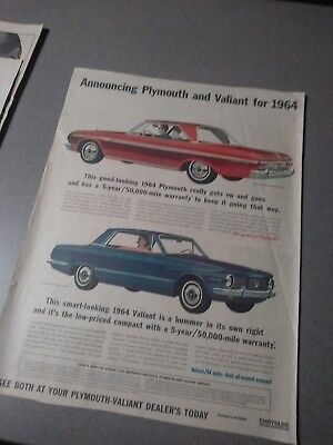 plymouth ad fury valiant newspaper vintage 64 65 poster dealer 440 426 photo