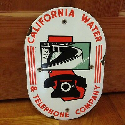 California Water And Telephone Company Porcelain Advertising Sign