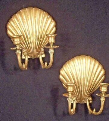 Pair Of Mid Century Modern Double Arm Shell Back Brass Sconces