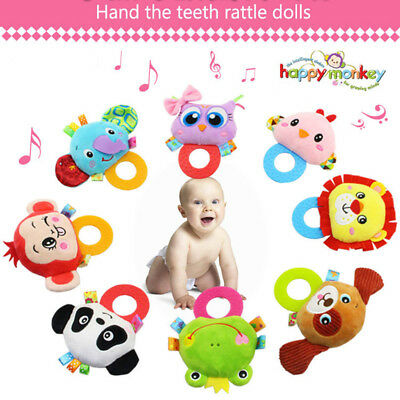 Newborn Bed Hanging Plush Rattle Teether Ring Paper Handkerchief Toys Baby Gift