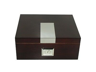25 count cigar humidor tobacco box antique wood finish with Hygrometer