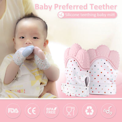 2PCS  Baby Teething Glove Silicone Mitt Teething Mitten Candy Wrapper Teether
