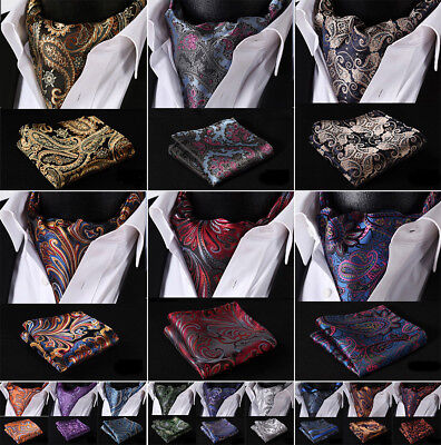 Hisdern Mens Silk Cravat Ascot Tie Paisley Handkerchief Pocket Square Set#B2