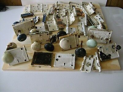 Large Lot Antique Vintage Door Knobs Hardware Hinges See Pictures