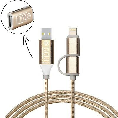 2in1 Ladekabel DatenKabel Lightning Micro USB OTG Male Female Ladegerät Station