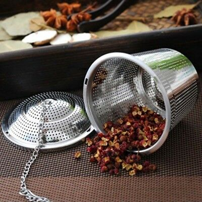 Stainless Steel Tea Strainer Ball Infuser Tea Leaf Spice Mesh Filter w/ Chain