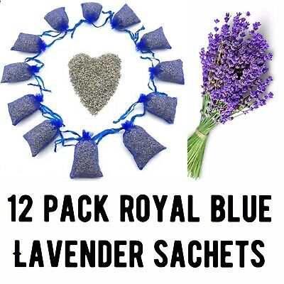 12 Lavender Aromatherapy Sachets of Organic Dried Flower Buds in Purple Bags