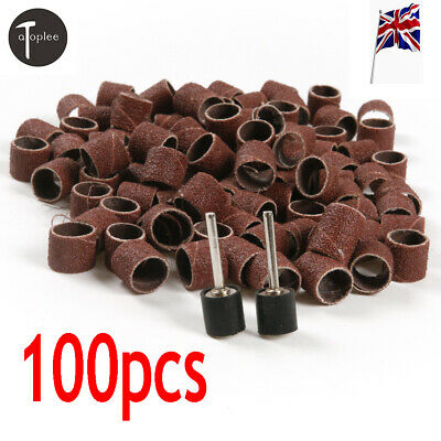 100pcs Sand Ring Sanding Bands Sleeves 80 Grit + 2x Mandrels for Rotary Tool UK