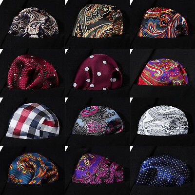 Hisdern Men Silk Check Pocket Square Hanky Handkerchief Classic Wedding Party#B2