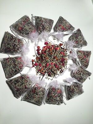 12 Aromatherapy Lavender Hibiscus And Rose Mix Sashas Sachets In Organza Bags