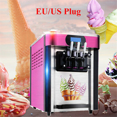 110V 3 Flavor Pink Commercial Frozen Soft Ice Cream Yogurt Cone Machine 20L/H