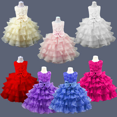 Kids Ruffle Lace Flower Girls Princess Dress for Formal Party Wedding Bridesmaid