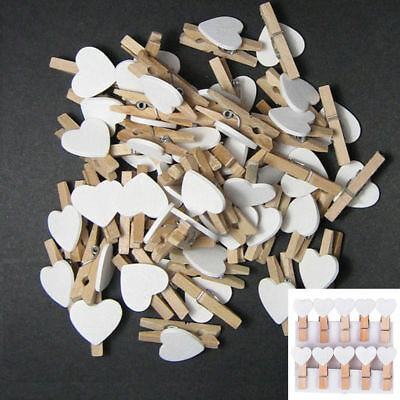 Mini Love Heart White Wooden Clips Pegs Clothespin Photo Picture Wedding Party
