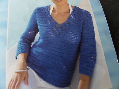 Crochet pattern ladies top / Jumper with short or long sleeves. Size 10 up to 20