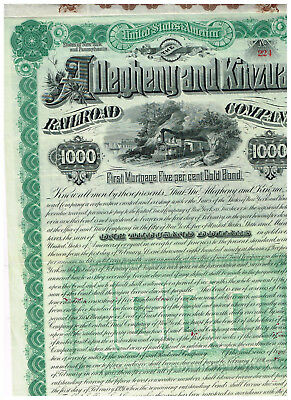 Allegheny and Kinzua Railroad Co., 1890, $1000 Gold-bond uncancelled/ coupons